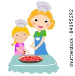 happy mother with her daughter ... | Shutterstock .eps vector #84195292