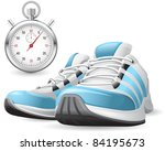 running shoes and stopwatch | Shutterstock .eps vector #84195673