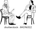 two men sitting reading... | Shutterstock . vector #84196312