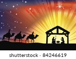 Illustration of traditional Christian Christmas Nativity scene with the three wise men - stock photo