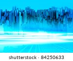 A futuristic floating building on a alien like planet surface. - stock photo