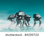 Futuristic robots are seen walking over a reflective surface in a military fashion - stock photo