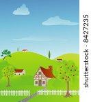 rural spring scene with... | Shutterstock .eps vector #8427235