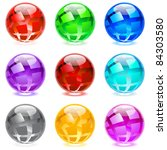 Raster version. Collection of colorful glossy spheres isolated on white. Set #5. - stock photo