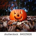 Halloween Pumpkin On Leaves In...