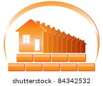 red emblem of the building... | Shutterstock .eps vector #84342532