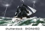 Tall ship sailing in heavy seas in a lightning storm, 3d digitally rendered illustration - stock photo