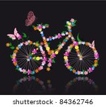 bike with flowers | Shutterstock .eps vector #84362746