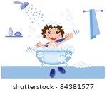 kid in bath  vector | Shutterstock .eps vector #84381577