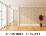Empty new room with big window - stock photo