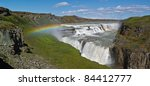 gullfoss falls and rainbow in...