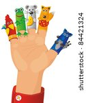 children wearing a hand with fingers on puppets - Tales characters - stock vector