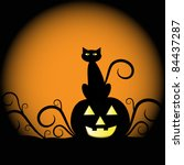 pumpkin and cat | Shutterstock .eps vector #84437287