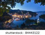Aerial view of Portofino, Italy, at dusk - stock photo