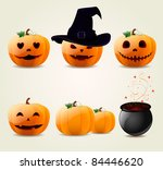 set of halloween pumpkins | Shutterstock .eps vector #84446620