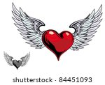 retro color heart with wings...
