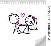 cartoon wedding couple on... | Shutterstock .eps vector #84473707