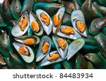Fresh Mussels At The Market In...