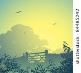 a country landscape with gate... | Shutterstock .eps vector #84485242
