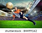 football player on field of... | Shutterstock . vector #84499162