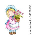 little girl in peasant dress... | Shutterstock . vector #84523750