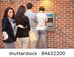 impatient woman queuing at an... | Shutterstock . vector #84632200