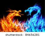 Raster version. Abstract blue and red fiery dragons. Illustration on black background for design - stock photo