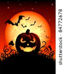 Stock vector halloween night background with jack o lantern illustration 84772678