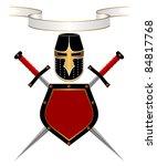 banner  knightly helmet  shield ...   Shutterstock .eps vector #84817768