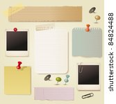note pad and pins set. vector | Shutterstock .eps vector #84824488