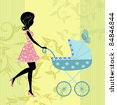woman with a pram | Shutterstock .eps vector #84846844