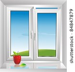 white plastic window with a sloping - stock vector