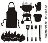 a set of barbecue silhouette...   Shutterstock .eps vector #84848542