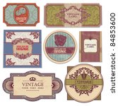 set of grunge vintage labels | Shutterstock .eps vector #84853600