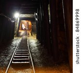 mine railway in undergroud. | Shutterstock . vector #84869998