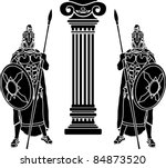 Two Hoplits And Column. Stenci...
