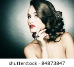 beautiful woman with evening... | Shutterstock . vector #84873847