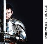 glistening knight holding two... | Shutterstock . vector #84875218