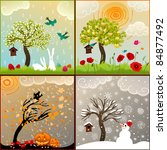four seasons set with tree ... | Shutterstock .eps vector #84877492