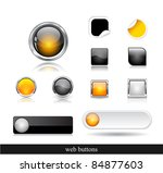 set of dark buttons. vector...