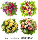 Stock photo colorful flowers bouquet roses tulips birthday easter mothers day valentines day greetings 84883165