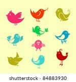 set of cartoon doodle birds...