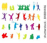 Vector Set Of Children Playing...