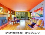 Bright and colorful retro modern living room - stock photo