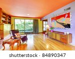 Colorful retro interior design - stock photo