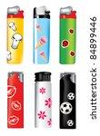 vector plastic lighters | Shutterstock .eps vector #84899446