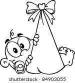 outlined baby boy in bundle   Shutterstock . vector #84903055