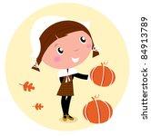 cute pilgrim child during... | Shutterstock .eps vector #84913789