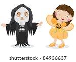 cute vector halloween... | Shutterstock .eps vector #84936637