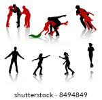 silhouettes of people on a... | Shutterstock .eps vector #8494849